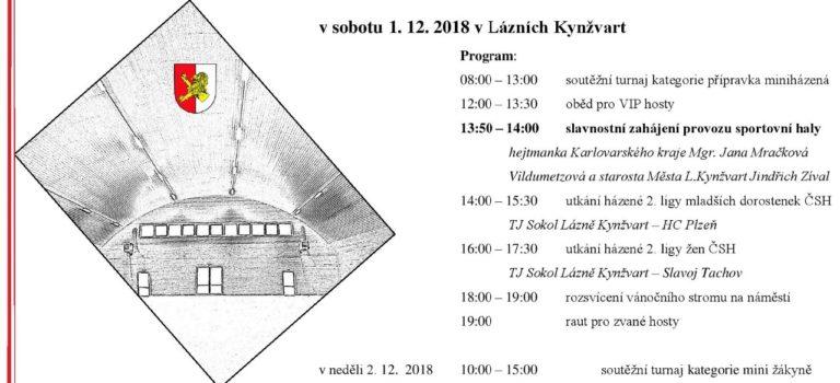 Slavnostní otevření sportovní haly v Lázních Kynžvartu