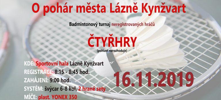 Turnaj O pohár města Lázně Kynžvart – propozice